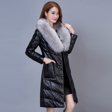 2016 Winter Long Female Casual Cotton Padded Down Jacket With Big Fur Collar 5 Colors Black Red Pink Gray Purple B80010