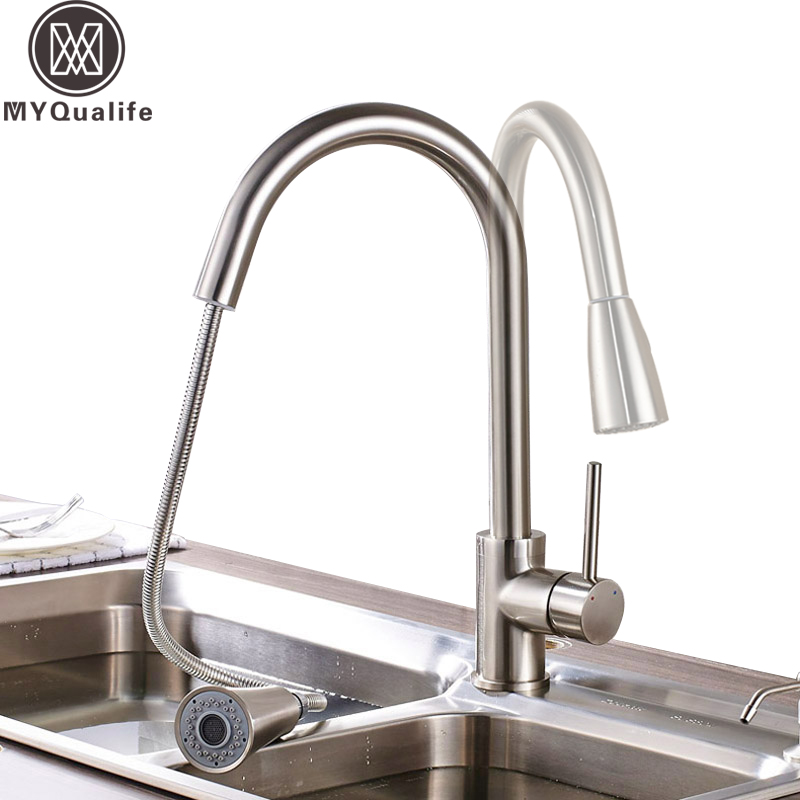 Luxury 360 Rotation Pull Out Kitchen Sink Faucet Deck Mounted Dual Sprayer Head Mixer Taps Kitchen Crane Taps