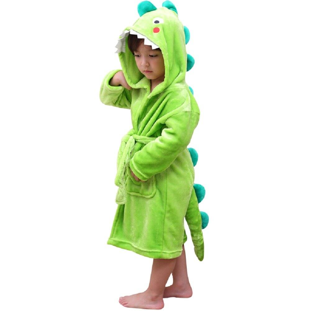 LOLANTA Boys Girls Plush Hooded Bathrobe Dinosaur Fleece Robe