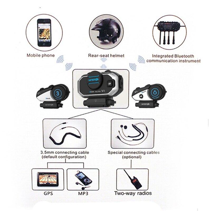 Version anglaise Easy Rider 2 ensembles Vimoto V8 casque Bluetooth casque moto stéréo casque pour téléphone portable et GPS Radio - 2