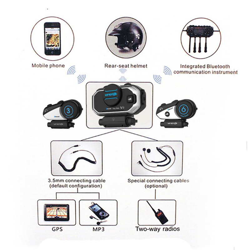 Version anglaise Easy Rider 2 ensembles casque Vimoto V8 casque Bluetooth casque moto stéréo casque pour téléphone portable et Radio GPS - 2