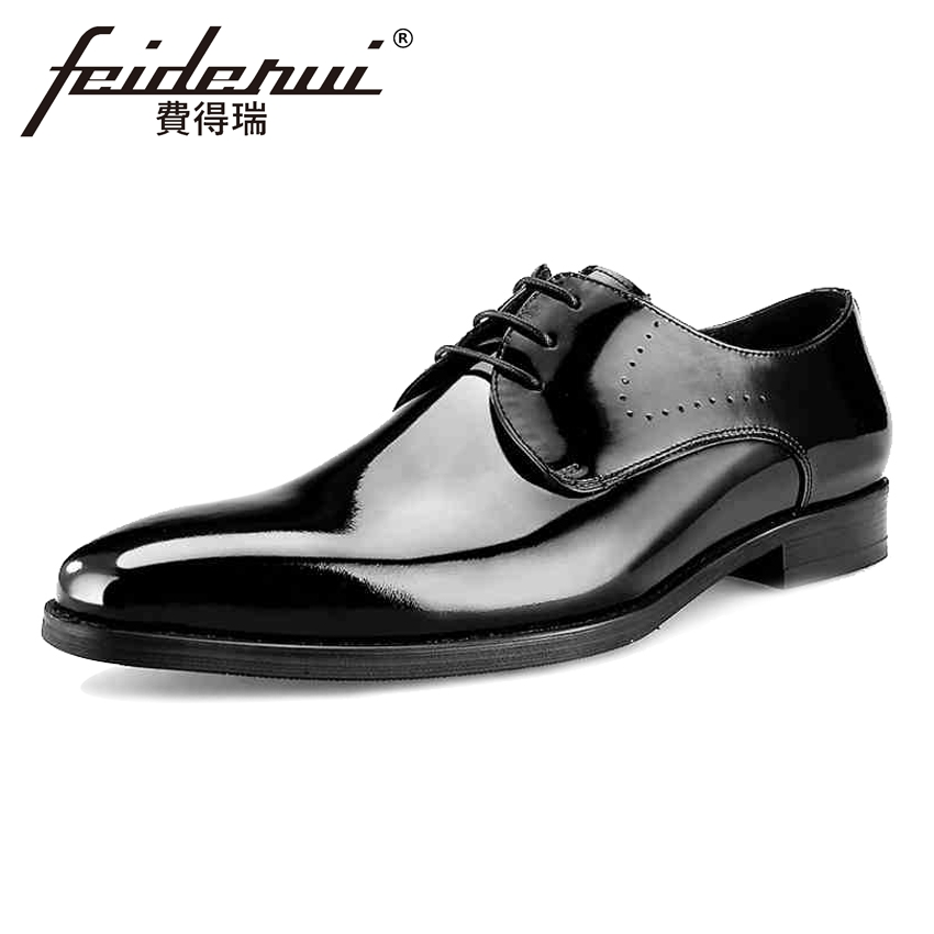 Hot Sale Patent Leather Mens Oxfords Formal Dress Round Toe Lace-up Man Handmade Flats Luxury Designer Male Wedding Shoes BQL27