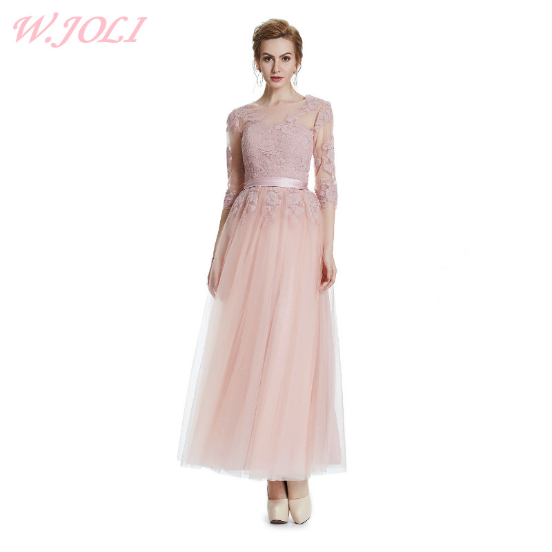 W.JOLI New Embroidery Flowers Long Evening Dress 2017 Bride Banquet Elegant Ankle length Wedding Bridesmaid Party Prom Dresses