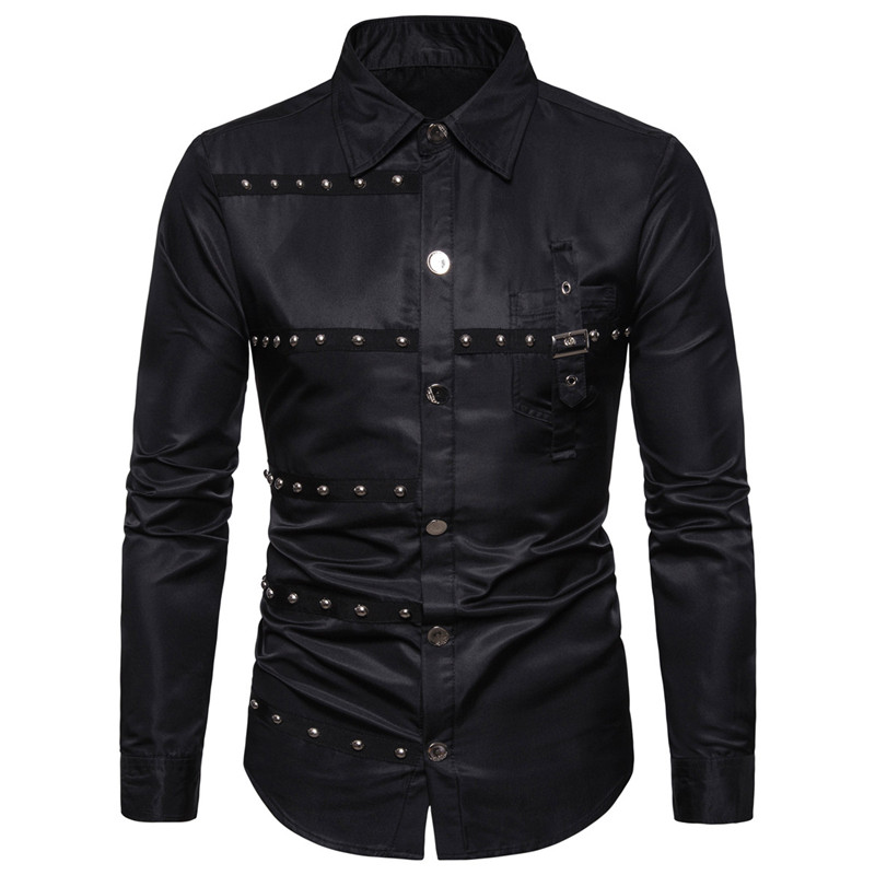2019 New Foreign Trade Fashion Solid Color Goth Style Rivet Pocket Decoration Large Size Men's Long-sleeve Shirt