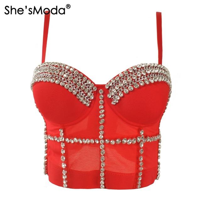 Luxo Jewel Diamante Cadeia Respiração Push Up 2015 Nova Bralet Sutiã Bustier Cropped Top das Mulheres Colete Plus Size