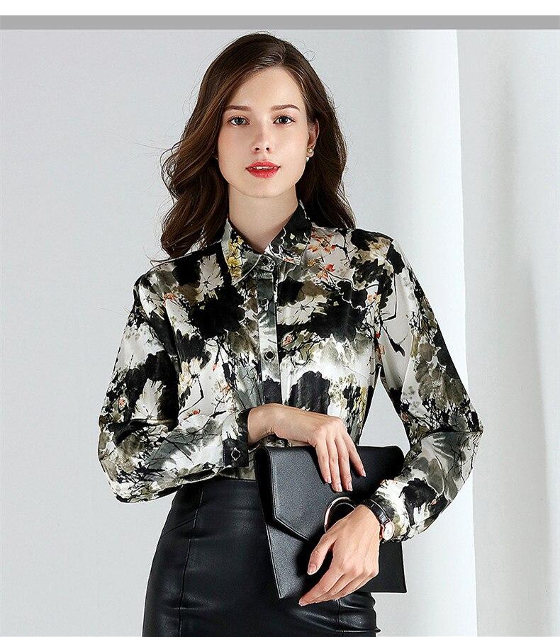 2019 Весенняя мода 100% шелковая блузка Офисная Женская рубашка рубашки с длинным рукавом Женские топы блузки размера плюс женская блуза YQ021 - 3