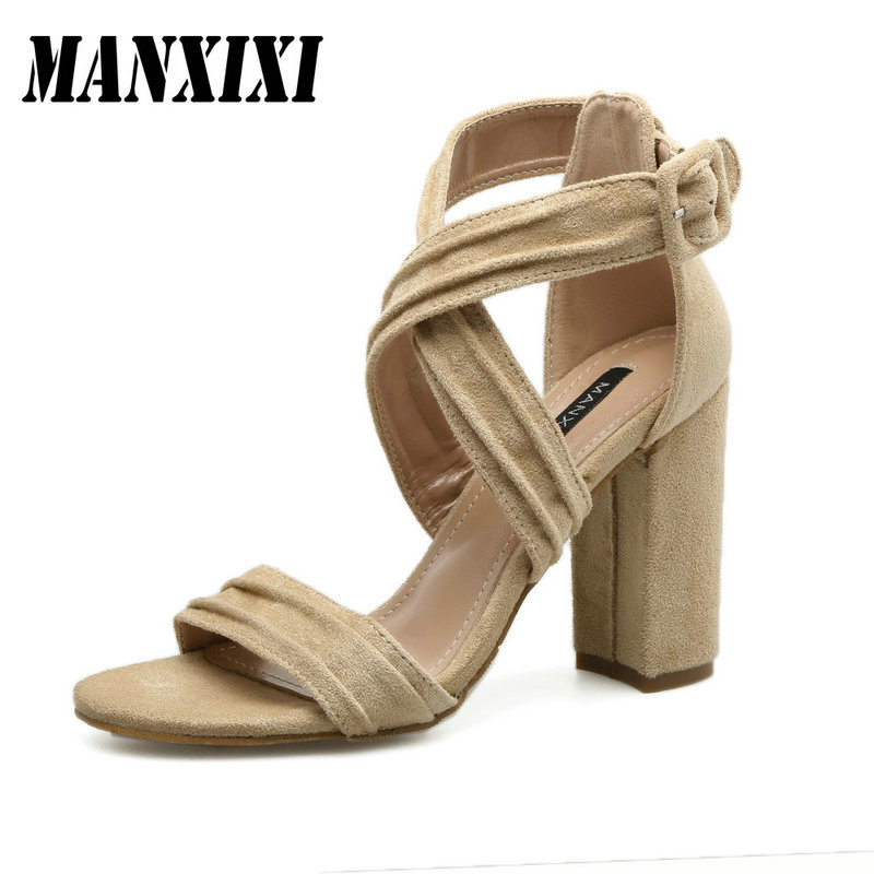 Women Leisure High Heels Shoes Ankle-Wrap Concise Open Toe Sandals Sexy Ladies Buckle Strap Square Heel Rome Sandals baibeiqi summer style women sandals high heels shoes ladies sexy open toe ankle buckle stiletto heels ol work shoes plus size