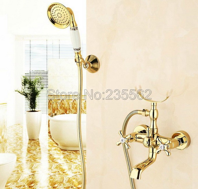 Bathroom Wall Mount Golden Brass Clawfoot Tub Faucet with Handheld Shower / Dual Corss Handles Mixer Tap ltf124Bathroom Wall Mount Golden Brass Clawfoot Tub Faucet with Handheld Shower / Dual Corss Handles Mixer Tap ltf124
