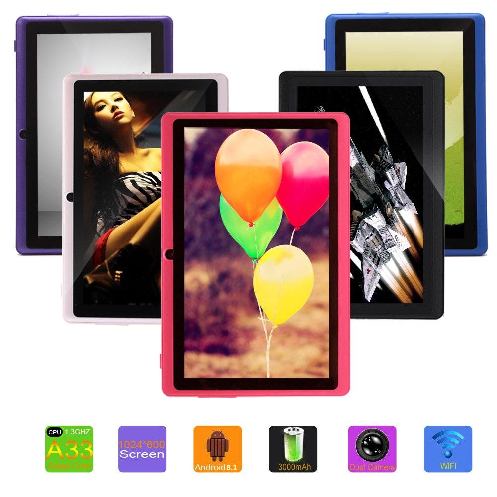 Hot Selling Tablet 7 Inch Tablet Pc Android 8.0 Quad-core 1GB ROM+8GB Wifi Camera White Black  Pink