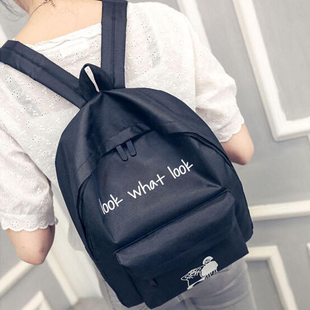 Fashion Letter Printing Shoulder Bag Girl Boy Canvas School Bag Travel Backpack Satchel Simple Cartoon Shoulder Rucksack