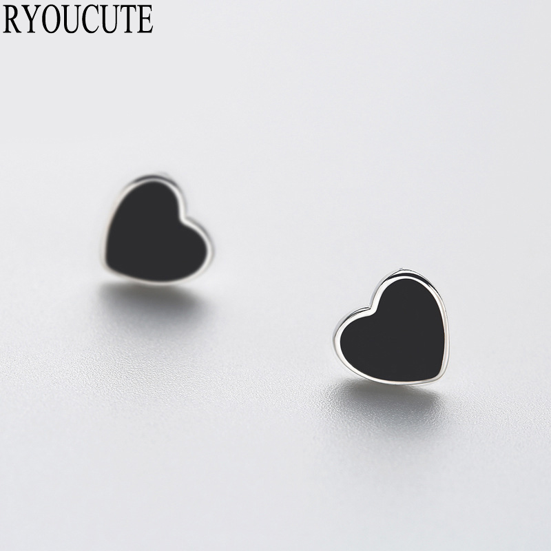RYOUCUTE New Arrivals Silver Color  Black Heart Stud Earrings For Women Brincos Pendientes