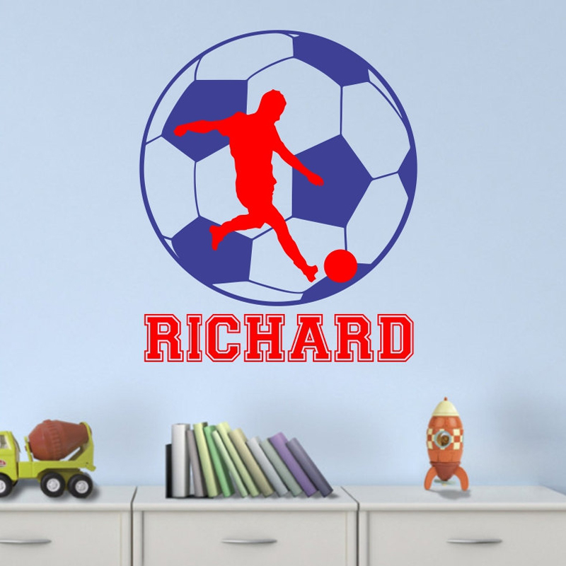Soccer wall decal with personalized name removable vinyl for Sports decals for kids rooms
