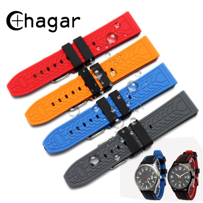 Waterproof Diving Soft Silicone Rubber Watchbands 20mm 22mm 24mm 26mm Sport Watch Strap Bracelet Wristband for Samsung Gear S3 tjp brands silicone rubber watch strap 22mm 24mm black watchbands bracelet for breitling nnavitimer avenger wristband
