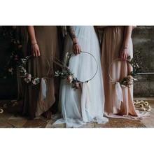 ברזל זהב מתכת טבעת נייד זר מלאכותי פרח מתלה חג המולד זר חתונה כלה בעבודת יד פרחים חלום התפסן חישוק