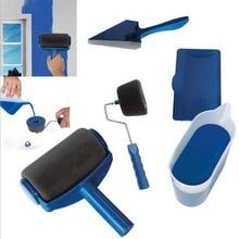 5PCS Paint Runner Pro Roller Brush Handle Tool Flocked Edger Office Room Wall Painting Home Garden Set