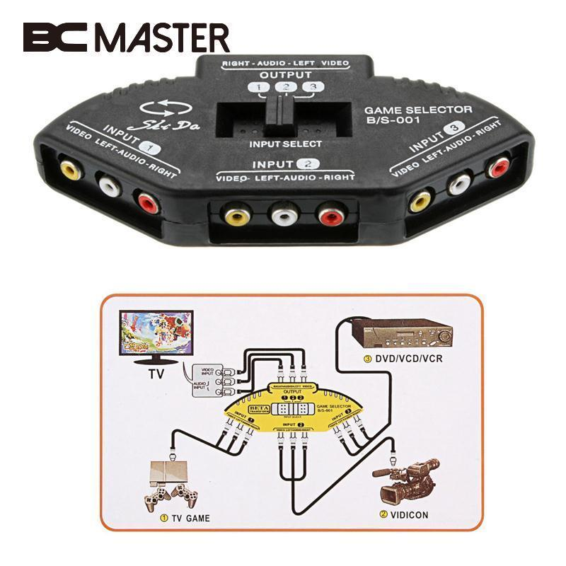 BCMaster 3 Way Audio AV Switch Box Composite Selector Converter