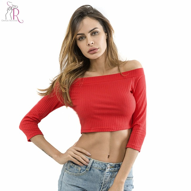 319ff93d1a011 Solid Red Off Shoulder Long Sleeve Ribbed Cotton Crop Top Tees Women High  Street Style 2018