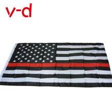 Xvggdg 90*150 см флаги полиции США тонкая красная линия Американский