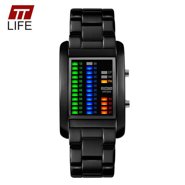 TTLIFE Binário Animação de Inicialização dos homens da Marca Relógios Homens LED Luxo Resistente À Água relógios de Pulso de Negócios de Moda Casual Para Meninos
