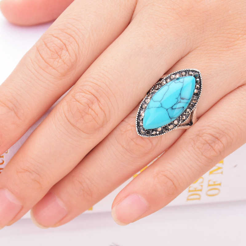 2017 New Boho ไซเฟอร์ Bague Vintage สีแดงสีฟ้าแหวนหินสีเขียวโบราณเงินชุบคริสตัล Rhombus แหวนสำหรับสุภาพสตรี mujer