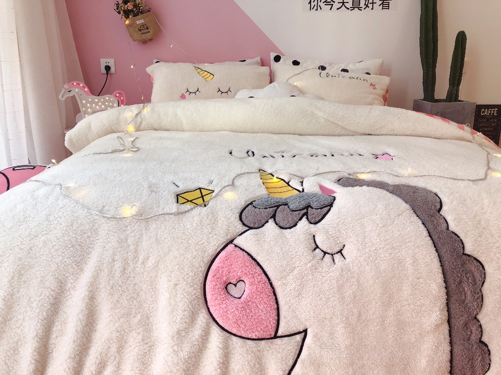 White Pink Cartoon Unicorn Applique Embroidery Fleece Fabric Bedding Set Flannel Velvet Duvet Cover Bed Sheet/Linen Pillowcases