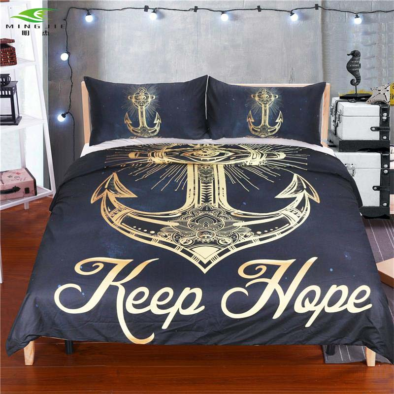 New 3 Pcs Gold Anchor Keep Hope Duvet Cover Set With Pillowcase Retro Bedding Set King Size Luxury Soft Microfiber Quilt Cover Duvet Cover Set Cover Setquilt Cover Aliexpress