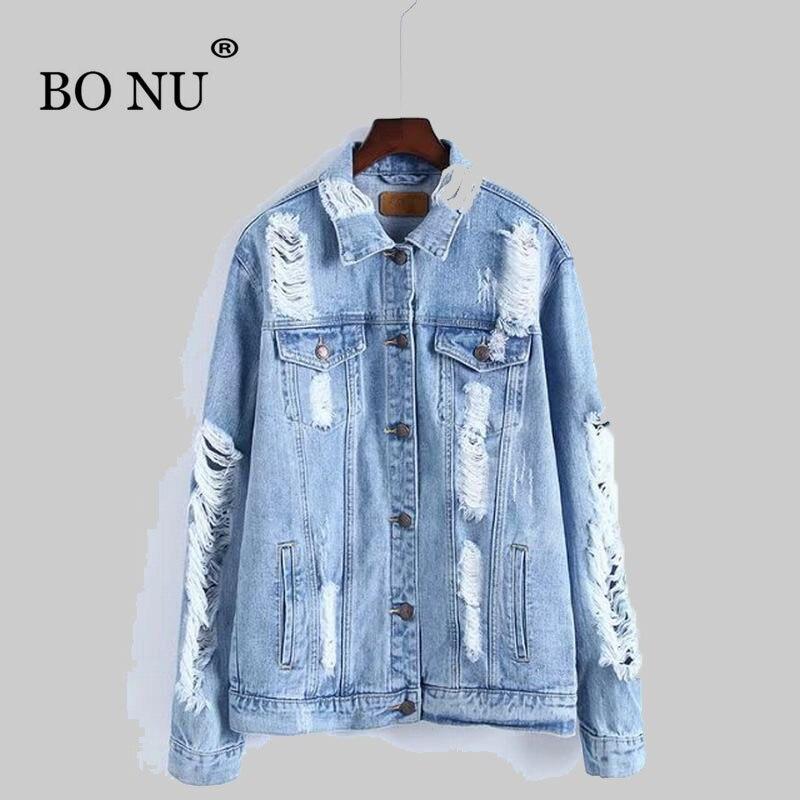BONU New Demin <font><b>Jacket</b></font> For Women Holes Loosen Autumn Coats High Quality Jean <font><b>Jacket</b></font> Female Autumn Coat Denim <font><b>jacket</b></font> for women