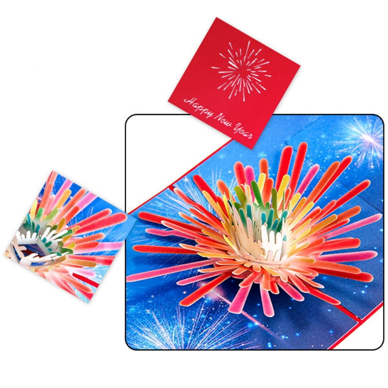 2018 fireworks new year star fireworks 3d greeting card for christmas birthday invitation wedding invitation in cards invitations from home garden on