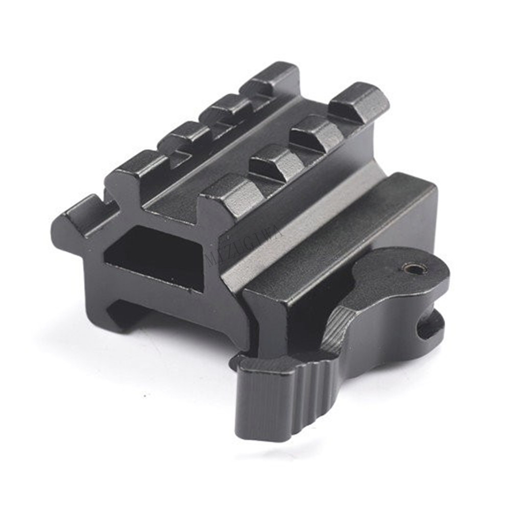 Tactical AR 15 Dual Rail 45 Degree 90 Degree Offset Picatinny Riser Mount With Quick Release Detach Red Dots Scopes Optic Sights image