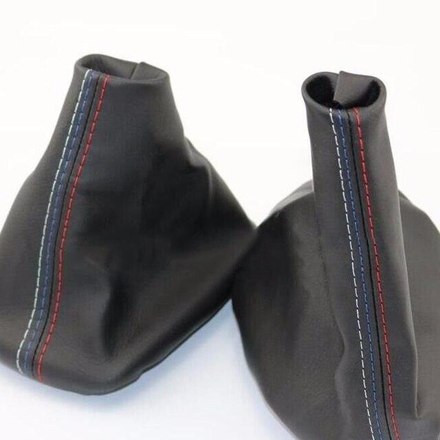 Dewtreetali Manual Car Gear Shift Collar Leather Handbrake Boot Cover Case For BMW E46 3 Series E36 M3(1991-1998)