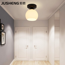 NEW Modern Brief style bedroom bedside ceiling lamp Black Round Base with E27 socket corridor balcony Glass Ceiling Light