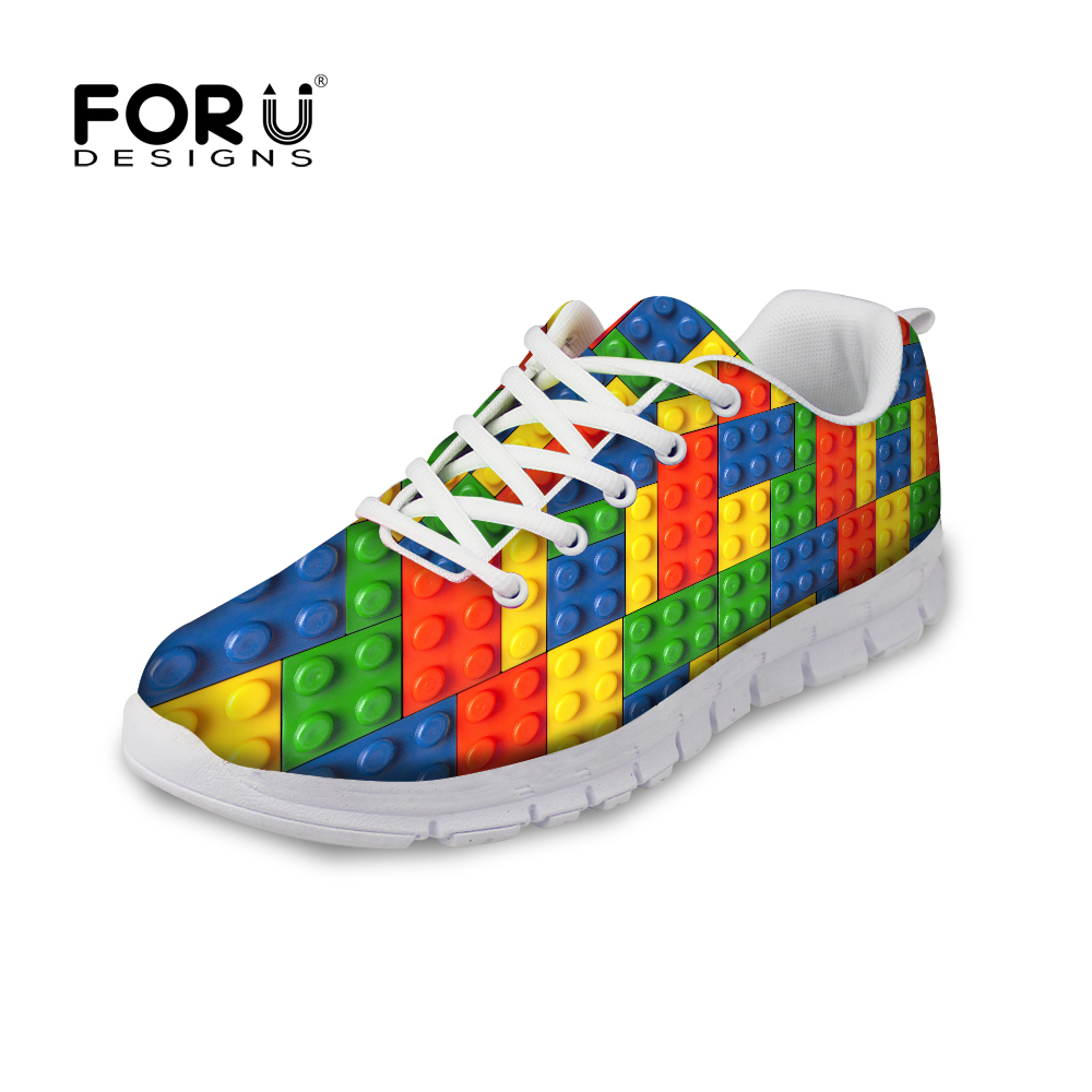 FORUDESIGNS 3D Tetris Printed Casual Flat Shoes Woman Lace-up Breathable Comfortable Flats Shoes for Women Ladies Leisure Shoe fashion women casual shoes breathable air mesh flats shoe comfortable casual basic shoes for women 2017 new arrival 1yd103
