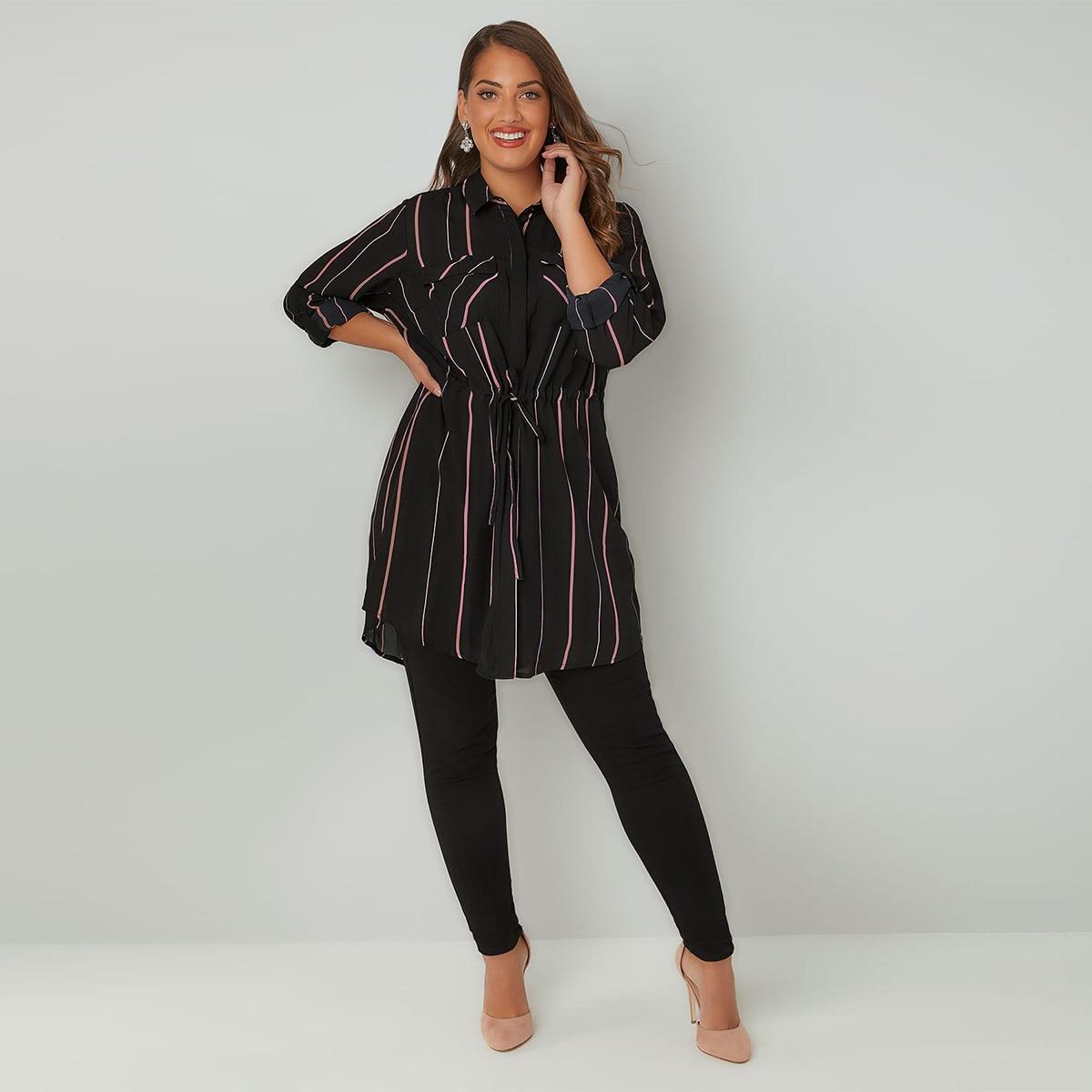 MCO 2018 Spring Simple Tie Waist Plus Size OL Stripe Shirt Casual Oversize Long Office Ladies Blouse Basic Big Women Top 6xl 7xl 3