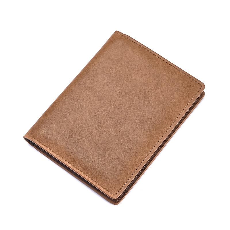 JINGAOLAI Genuine Leather Passport Cover Solid Credit Card Holder Vintage Men Women Passport Case Business Unisex Travel Wallet