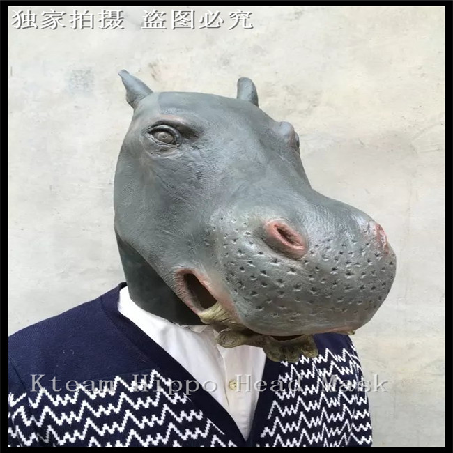 Free shipping Deluxe Design Halloween Party Costume Rubber Animal Masks Latex Realistic Hippo Head Mask Full Head Mask in stock