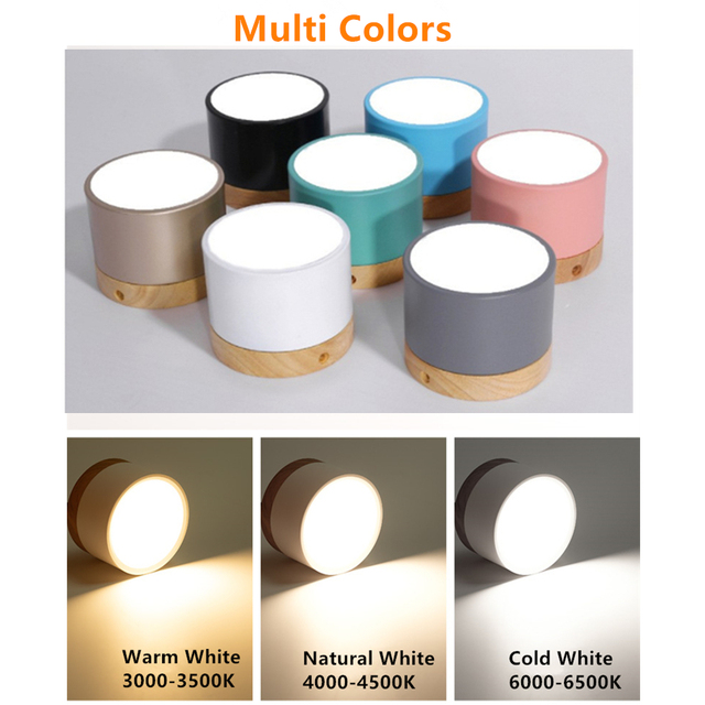 [DBF]Macaroon Iron+Wood LED Ceiling Light 5W 12W Surface Mount Ceiling Spot Light for Bar Kitchen 1