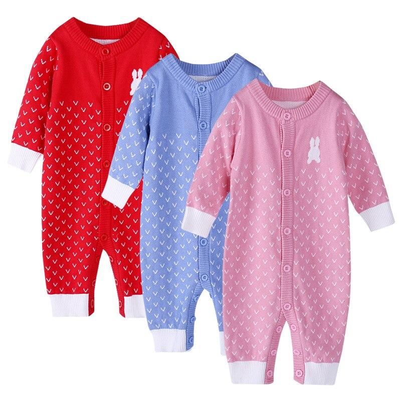 Осень-зима для маленьких девочек с рисунком кролика шерсть комбинезоны джемперы детей восхождение свитер нового года вещи товары 17s907