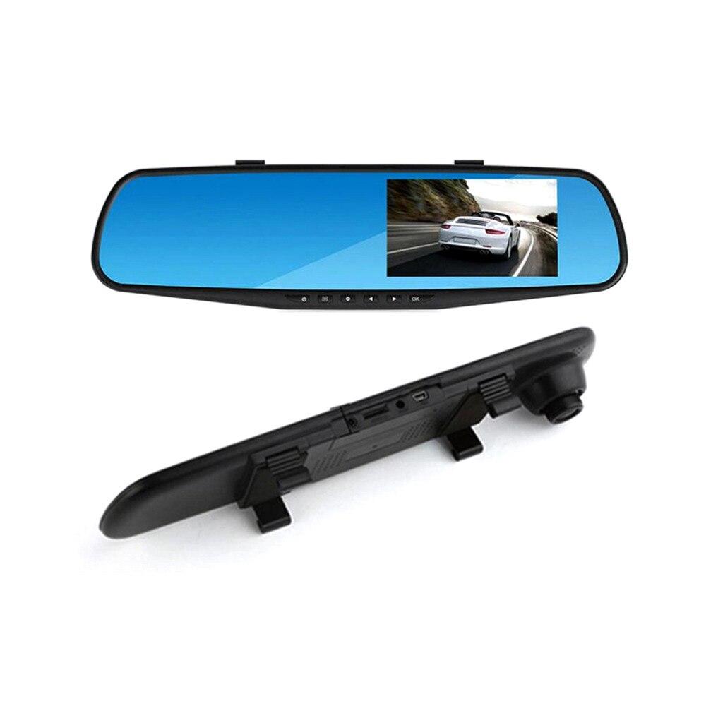 imágenes para Nuevo 4.3 Pulgadas de Doble Lente Video Recorder Dash Cam Cámara DVR Impermeable Cámara de Visión Trasera Espejo Retrovisor Del Coche G-Sensor RM-LC2010