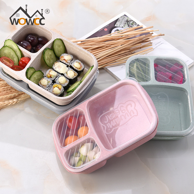 Wheat straw Lunch Boxs Microwave Tableware Bento Box 3 Grid Student