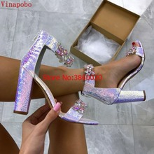 2019 vinapobo Women Summer snake printed Sandals Ankle Strap High Heeled Platform Crystal Design Sexy Wedding Party Shoes Female