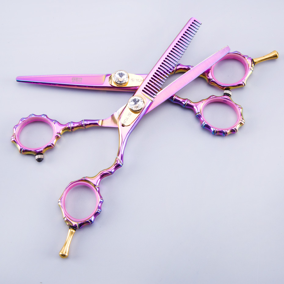 SI YUN 5 5 Inch Hair Scissors Set High Quality Stainless Steel Purple Color Professional Hair Scissors Set Hair Styling Tools in Hair Scissors from Beauty Health