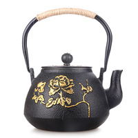 Cast iron without coating magnificent double iron drawing tea pot boiling water kettle teapot Japanese Kungfu teaware set 1.2L