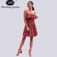 NewAsia Bahçe Kadın Bohemian Elbise Yaz Baskı Retro Midi Plaj elbise Seksi Dükkanı Online Giysileri Paketi Hip Düşük Kesim Wrap elbiseler