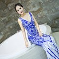 Chinese Style Blue And White Porcelain Long Evening Dress Fish Tail Sexy V-Neck Party Dresses Robe Chinoise Qipao Cheongsam