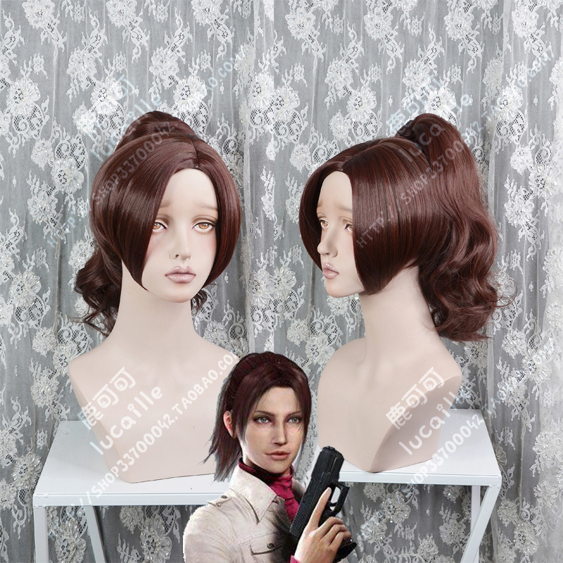 Anime Resident Evil Claire Redfield Wigs Heat Resistant Synthetic Hair Cosplay Costume Wig + Wig Cap