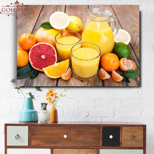Gohipang 1 Pieces Modern Home Decor Wall Art Pictures Orange And Fruit Juice Large Posters For Kitchen HD Canvas Paintings