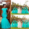 2017 Cheap Mermaid African Bridesmaid Dresses Off Shoulder Long Beach Wedding party Gowns Lace Arabic Maid Of Honor Dress