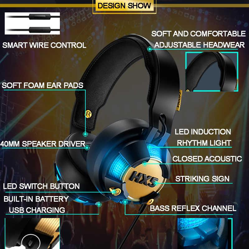 オリジナルフィリップスSHX50プロフェッショナルヘッドセット用コンピュータゲームでusbプラグブルーledライト磨きイヤホン公式テスト