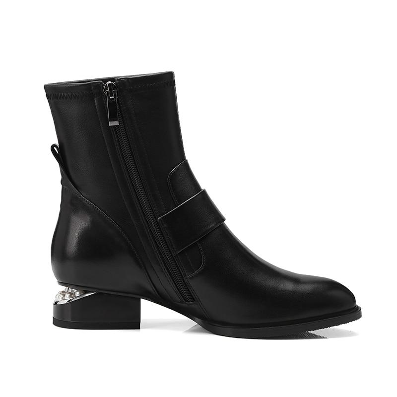 Plush Boot Short Épais Chaussures blacj 2018 Cuir Bottes Femmes Bout Cheville Véritable Femelle Talons Perle Pointu Zip En Wetkiss Moto Bas Noir aqpw1xR
