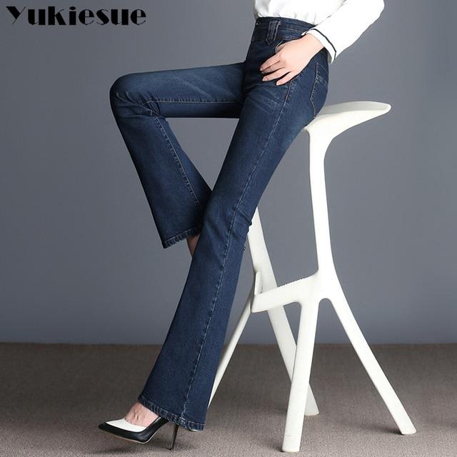 61d6bb6e2af Vintage High waist Flare Jeans Women Retro Style Bell Bottom Skinny Jeans  femme Female Dark Blue Wide Leg Denim Pants Plus size